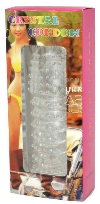 Прозрачная насадка с шипиками Cristal Condom - 12,5 см.