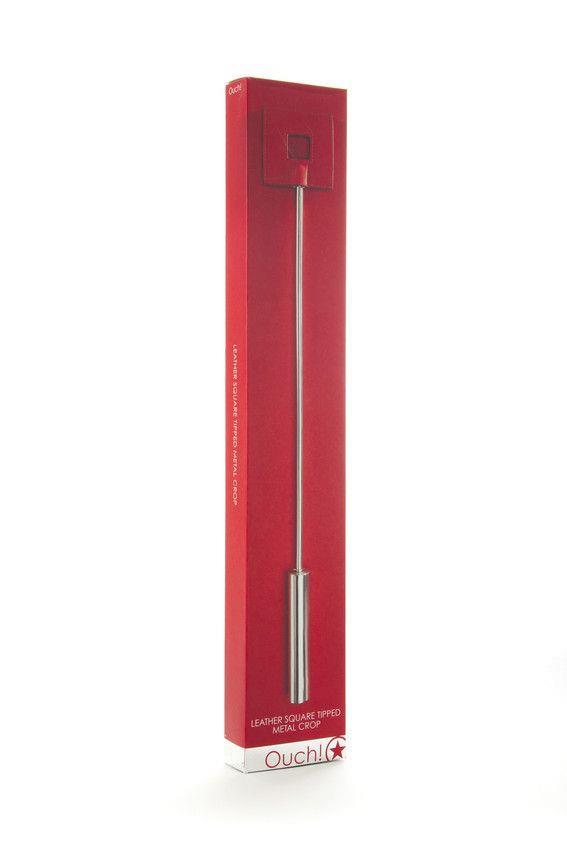 Красная шлёпалка Leather Square Tiped Crop с наконечником-квадратом - 56 см.