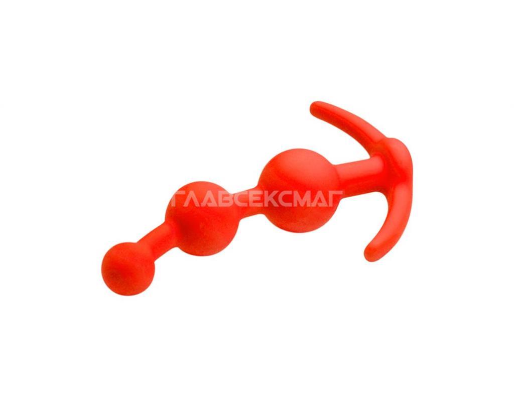 Оранжевая анальная цепочка из 3 звеньев (13 см)