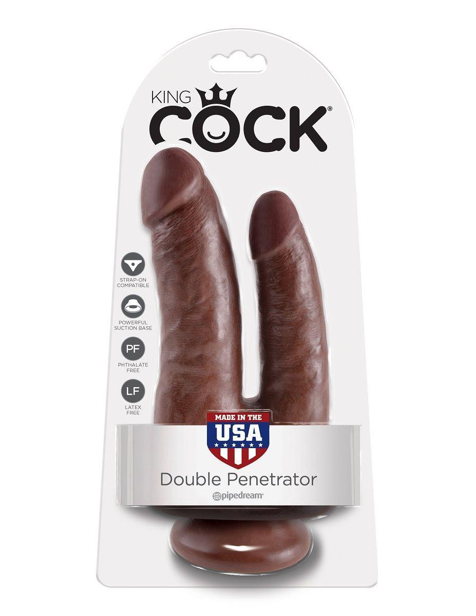 Коричневый анально-вагинальный фаллоимитатор Double Penetrator (20,9 см)