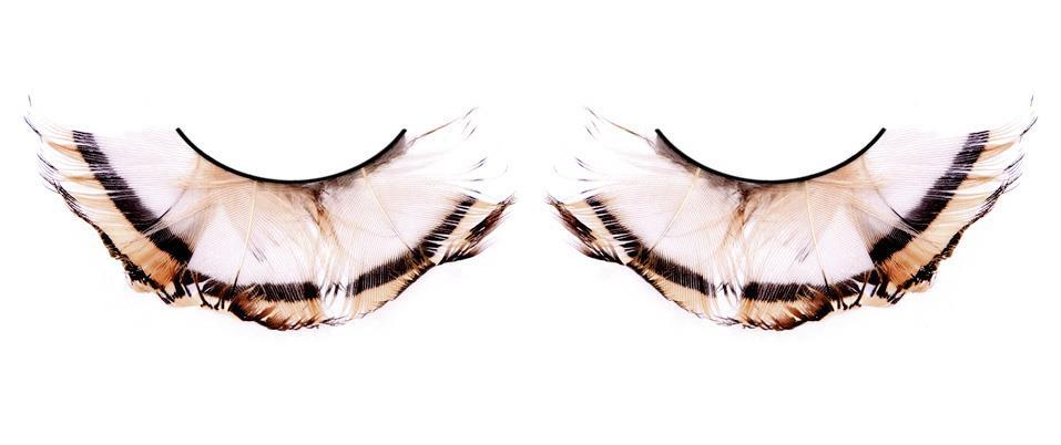 Бежево-коричневые ресницы-перья