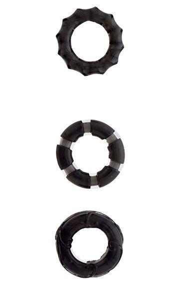Набор из 3 чёрных эрекционных колец MENZSTUFF - STRETCHY COCK RINGS