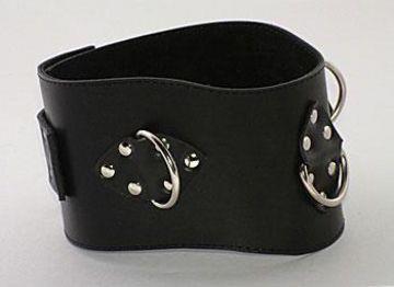 Чёрный не подшитый кожаный ошейник с кольцами