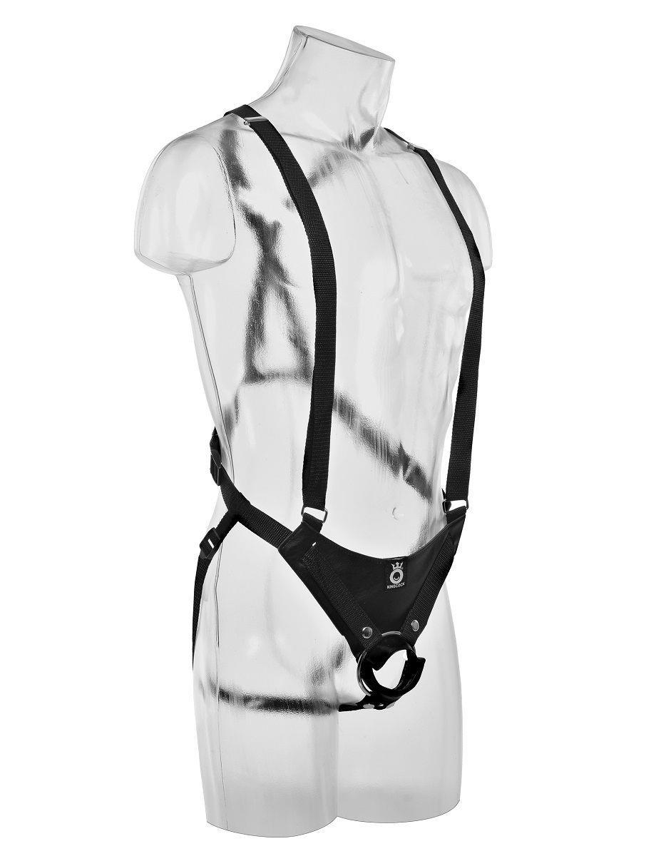 Страпон-система с чёрной насадкой 10 Hollow Strap-On Suspender System (25 см)