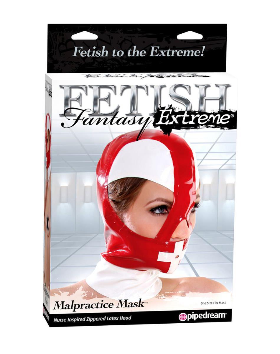 Красно-белый шлем на молнии Fetish Fantasy Extreme Malpractice Mask