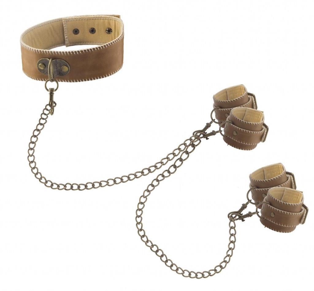 Кожаный ошейник с наручниками OUCH! BROWN