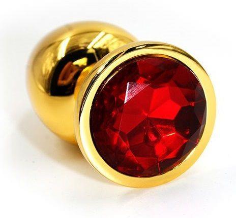 Золотистая алюминиевая анальная пробка с красным кристаллом - 7 см.