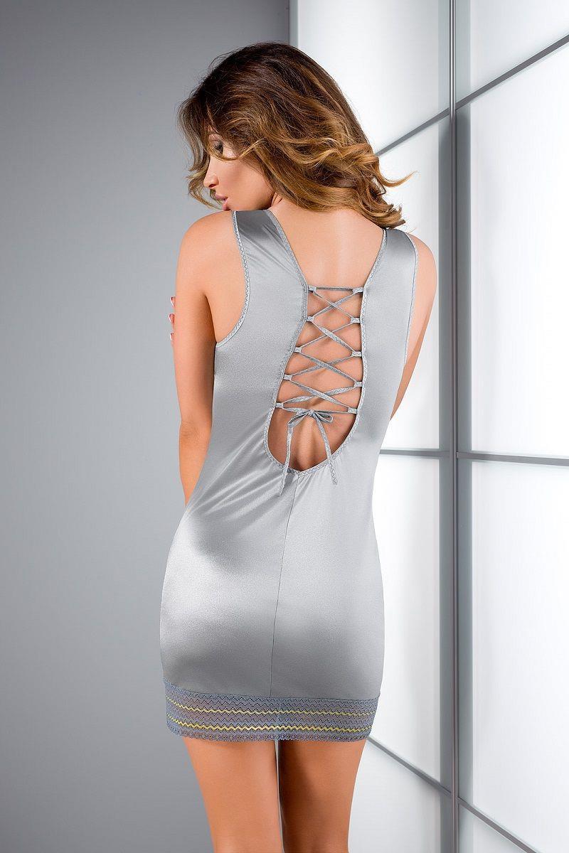 Серебристая сорочка Avena с кружевной оторочкой