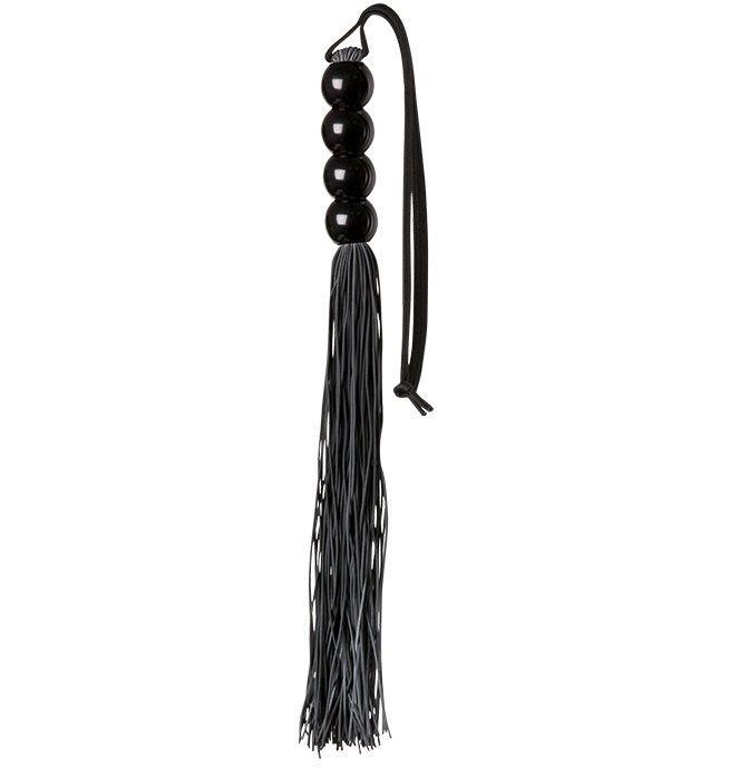 Чёрная мини-плеть из силикона с акриловой рукоятью SILICONE FLOGGER WHIP (35 см)