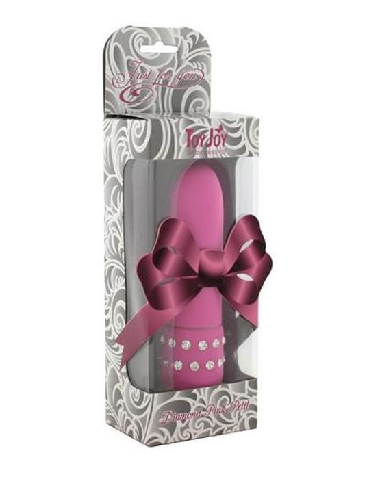 Розовый вибратор с кристаллами Diamond Pink Petit (11 см)