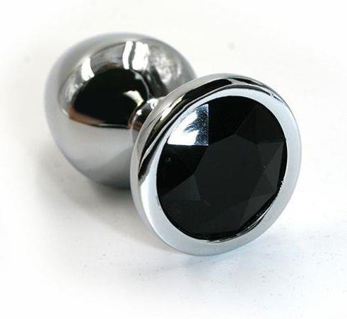 Серебристая алюминиевая анальная пробка с чёрным кристаллом (6 см)