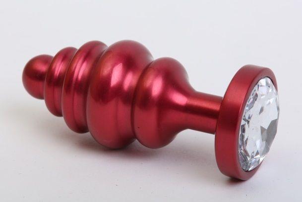 Красная металлическая фигурная пробка с прозрачным стразом (7,3 см)