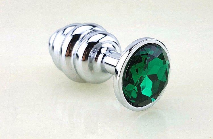 Серебристая рифлёная пробка с зеленым кристаллом (9 см)