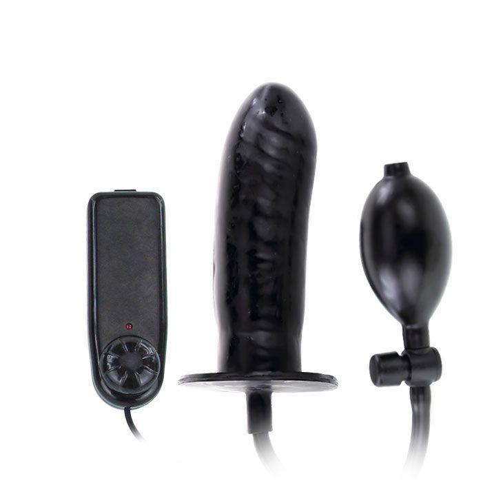 Чёрный расширяющийся анальный вибратор (15,5 см)