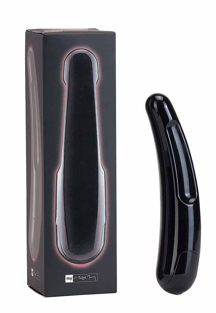 Чёрный многоскоростной дизайнерский вибромассажёр Saber (17,5 см)
