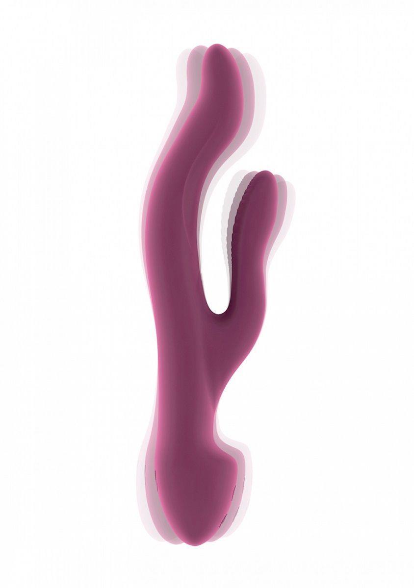 Розовый вибратор Keira с клиторальным отростком (21,3 см)