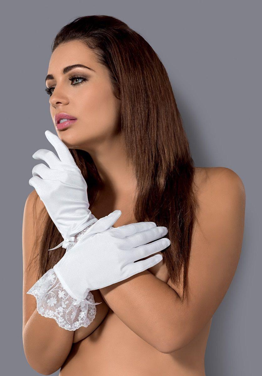 Короткие перчатки Etheria с оборками из тонкого цветочного кружева