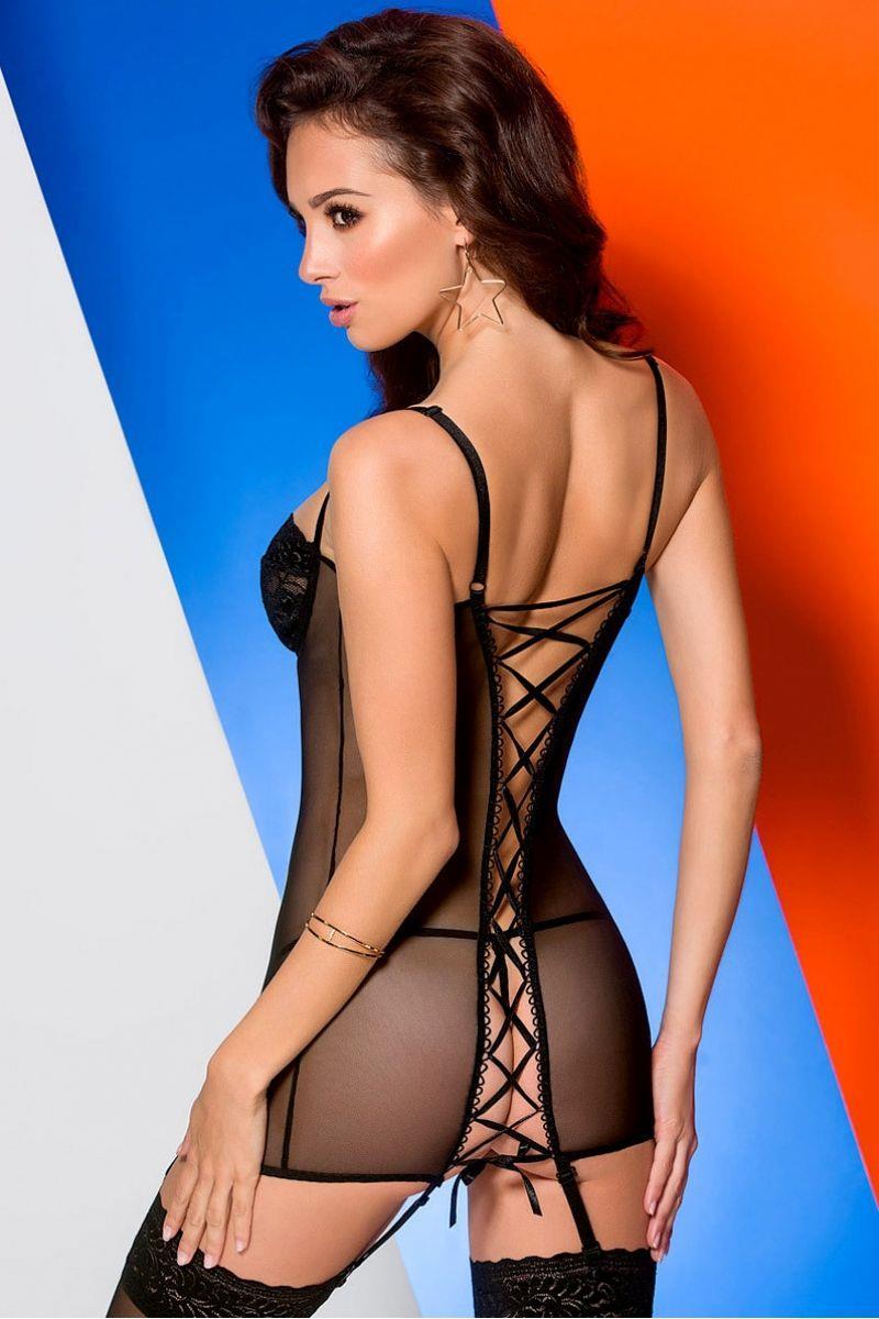 Роскошная облегающая сорочка Ksenia с кружевным лифом и шнуровкой во всю спинку