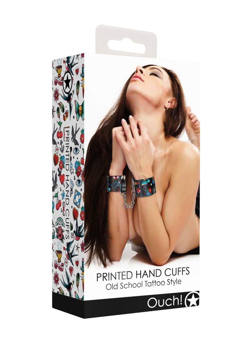 Наручники Printed Hand Cuffs Old School Tattoo Style на цепочке