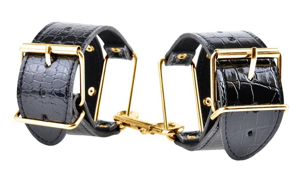 Черные с золотом наручники Cuffs
