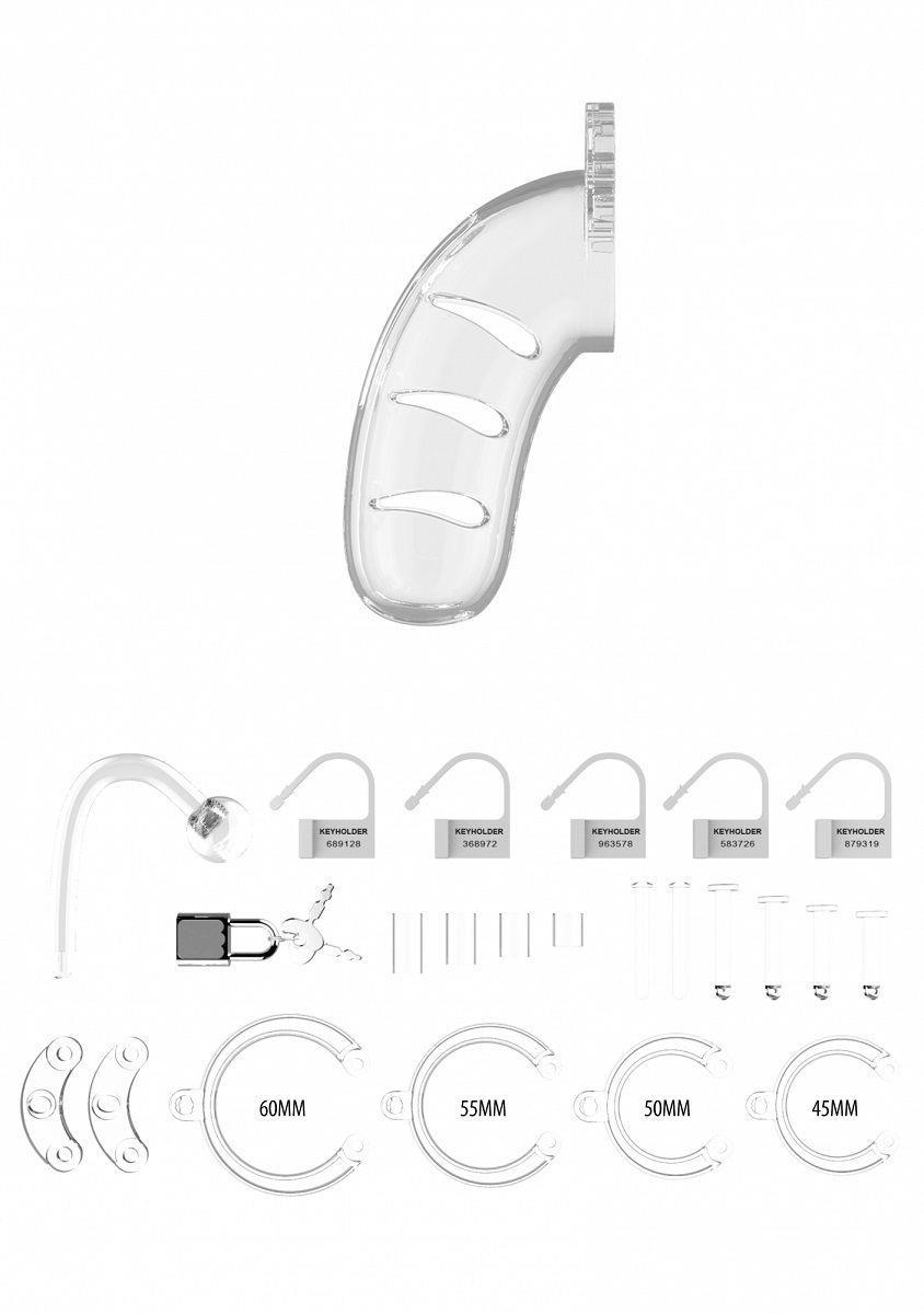 Прозрачный мужской пояс верности Cage With Plug 11 со съемной анальной пробкой