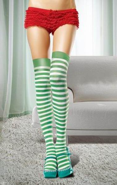 Зеленые полосатые чулки
