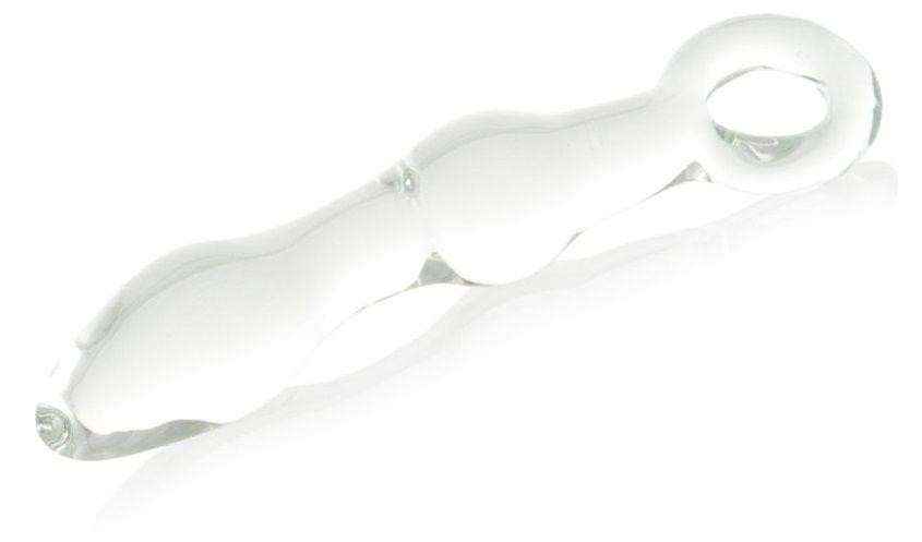 Стеклянная анальная втулка с ручкой-кольцом - 14 см.