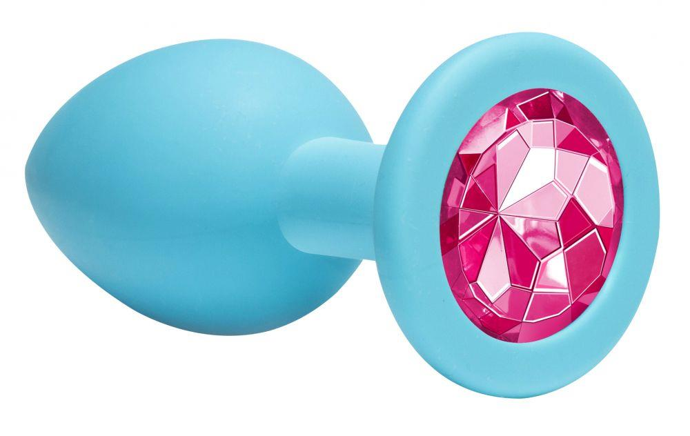 Средняя голубая анальная пробка Emotions Cutie Medium с розовым кристаллом (8,5 см)