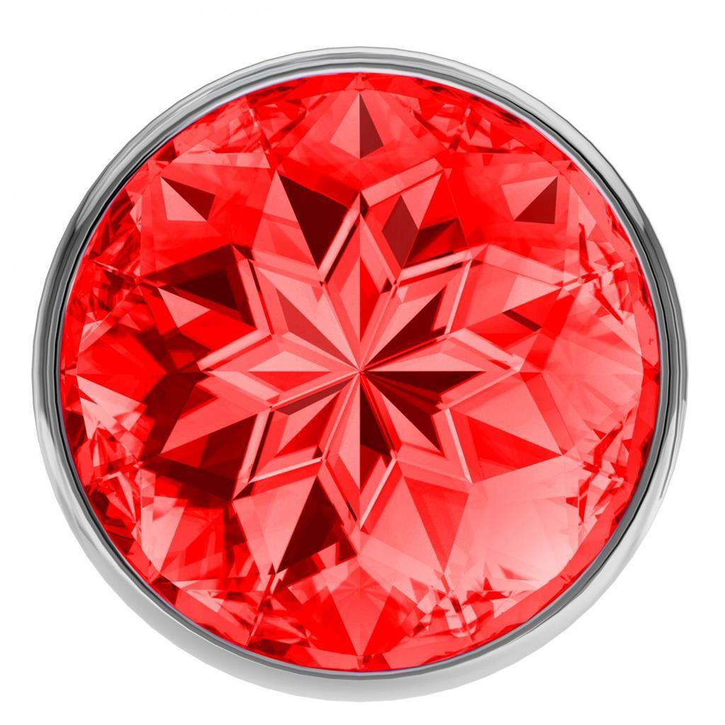 Большая серебристая анальная пробка Diamond Red Sparkle Large с красным кристаллом - 8 см.