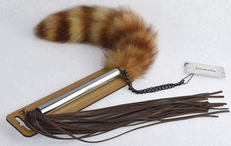 Плеть-щекоталка с натуральным пушистым хвостиком