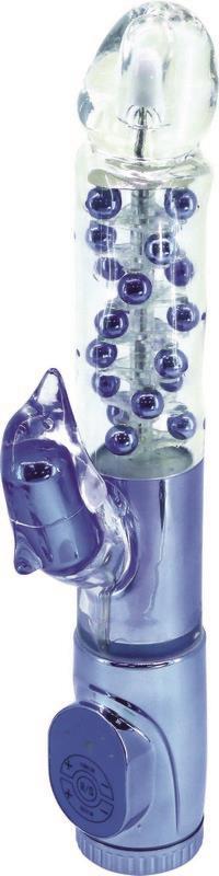 Синий вибратор с клиторальным стимулятором в виде дельфина - 17 см.
