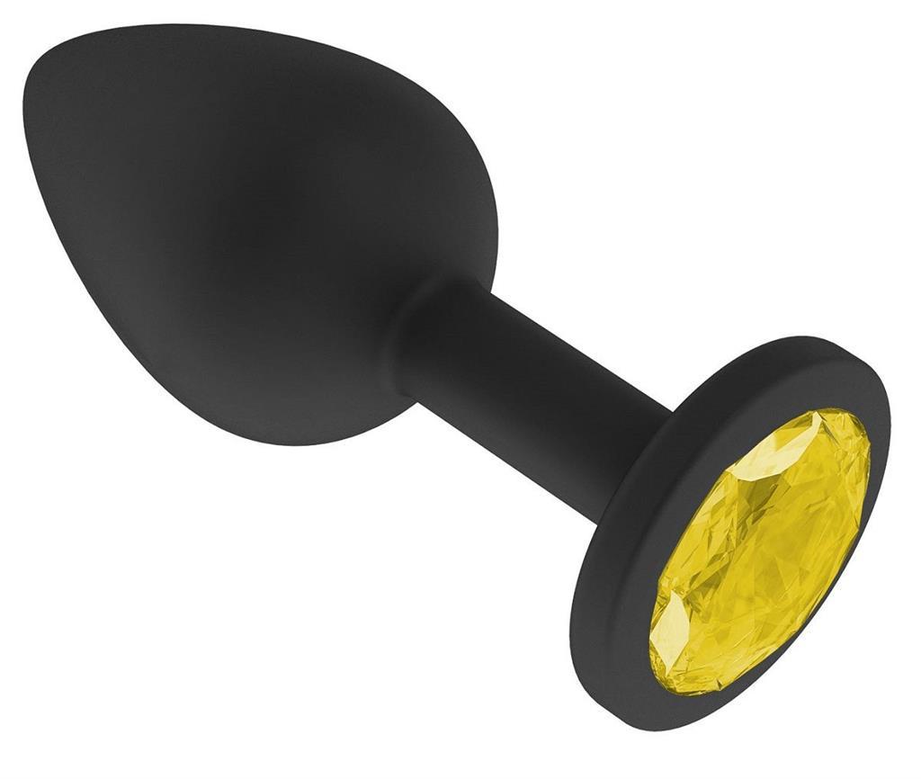 Чёрная анальная втулка с жёлтым кристаллом (7,3 см)