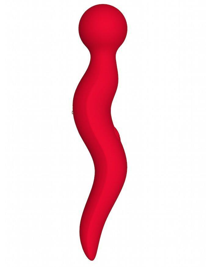 Красный жезловый вибромассажёр Cassi (21 см)