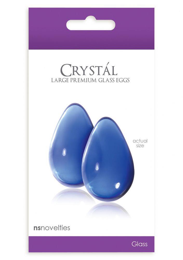 Большие синие стеклянные вагинальные шарики CRYSTAL KEGEL EGGS