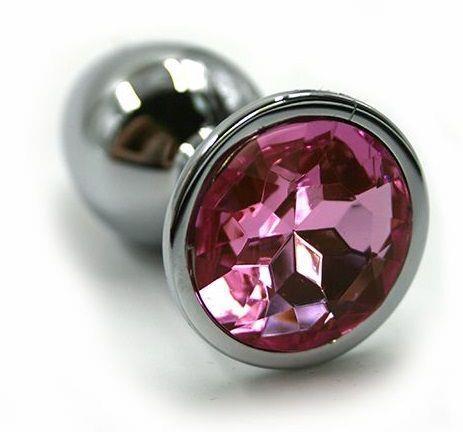 Серебристая алюминиевая анальная пробка с светло-розовым кристаллом (7 см)