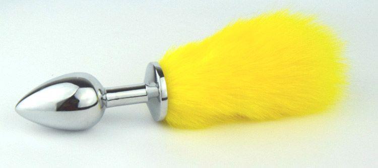 Металлическая анальная пробка с хвостиком лимонного цвета