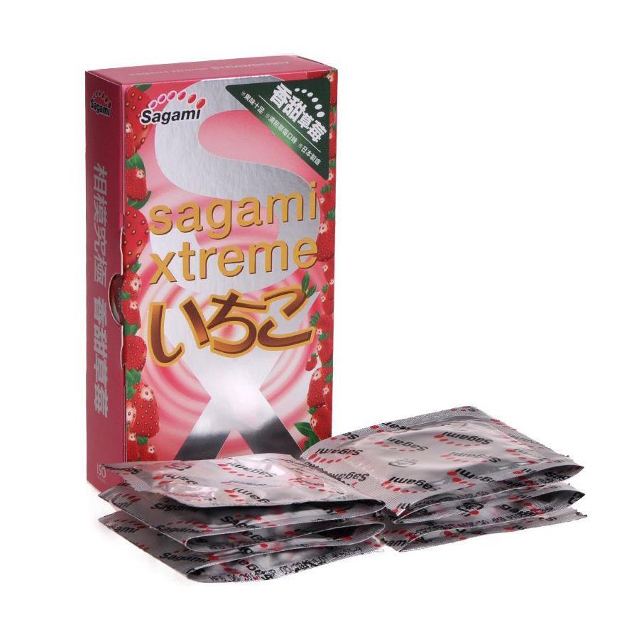 Презервативы Sagami Xtreme Strawberry c ароматом клубники (10 шт)