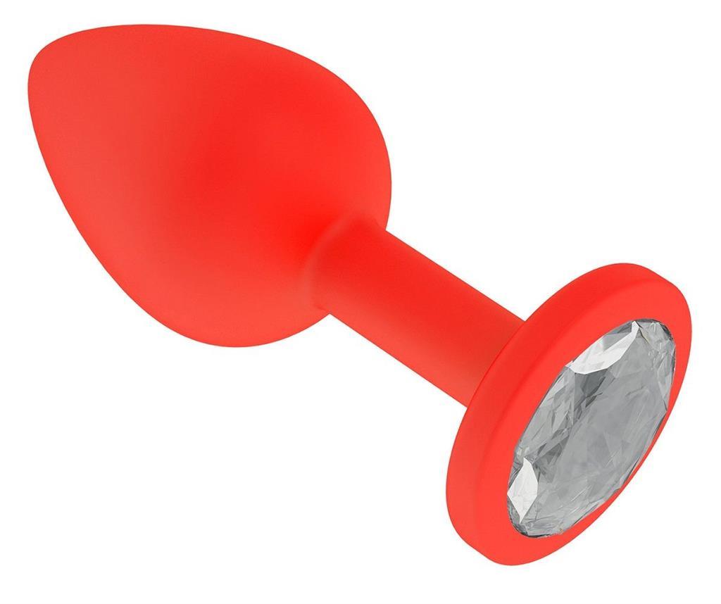 Красная анальная пробка с прозрачным кристаллом (7,3 см)