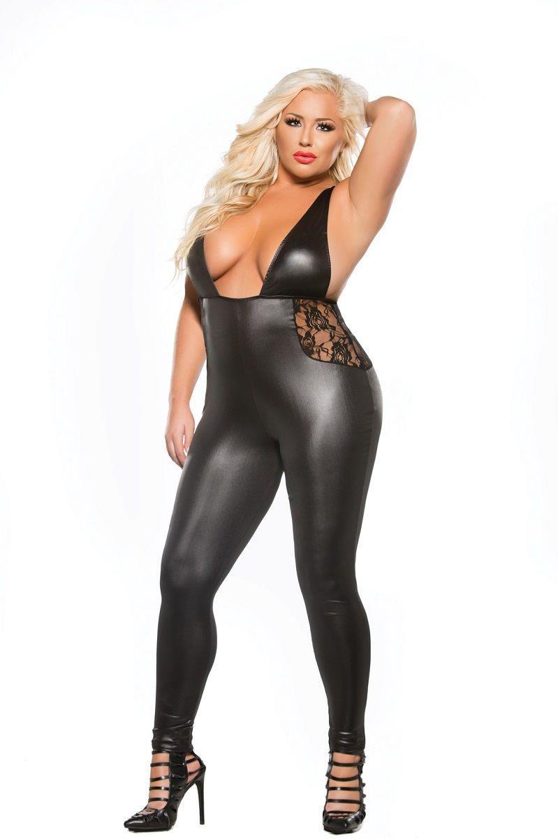 Облегающий комбинезон Lace Wet Look Catsuit