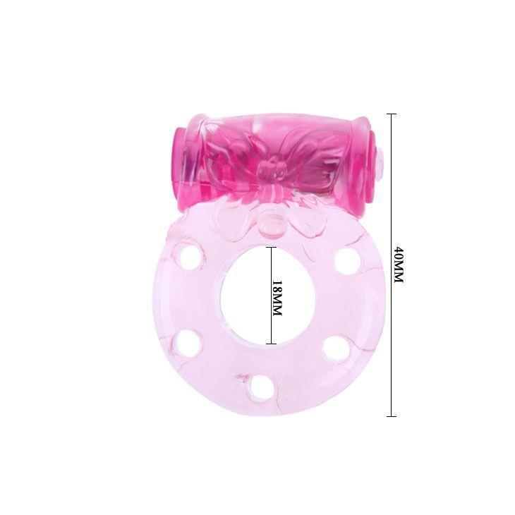 Розовое эрекционное кольцо с бабочкой на вибропуле