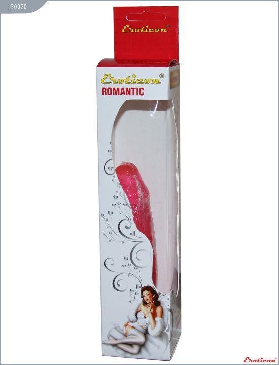 Гелевый розовый фаллоимитатор EROTICON - ROMANTIC без мошонки (17 см)