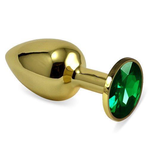 Золотистая анальная втулка с зеленым кристаллом (7 см)