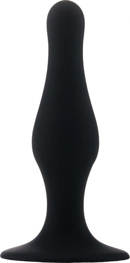 Чёрная анальная пробка с длинным кончиком Butt Plug with Suction Cup Medium