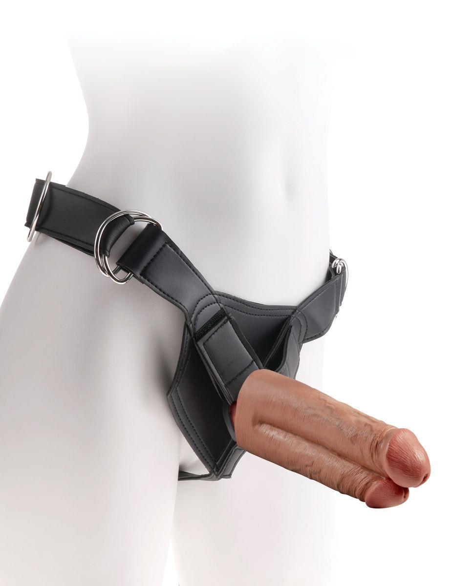 Кофейный сдвоенный поясной страпон Strap-On Harness with 7
