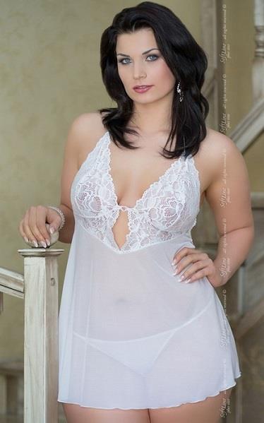 Прозрачная ночная сорочка Holly с кружевным лифом