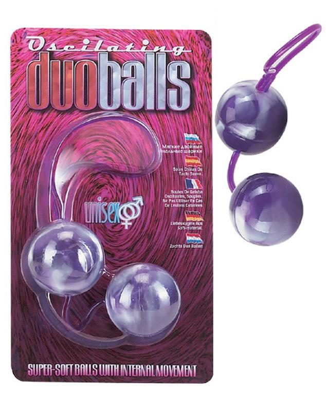 Фиолетовые вагинальные шарики со смещенным центром тяжести