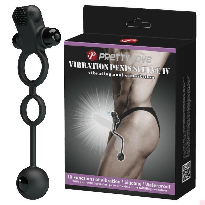 Черное эрекционное виброкольцо Vibrating Penis Sleeve IV