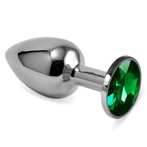 Серебристая анальная втулка с зеленым кристаллом (7 см)