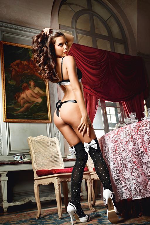 Высокие чёрные чулки в горошек для горничной Playful French Maid