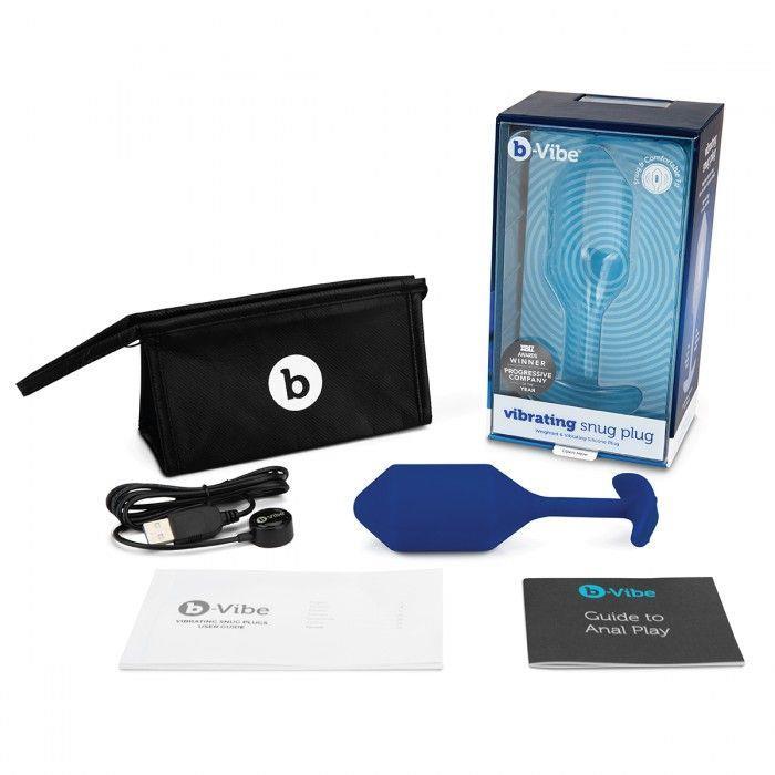 Синяя анальная пробка для ношения с вибрацией Snug Plug 4 (14 см)